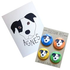 Custom pet illustration custom pet magnets by ArthursPlaidPants