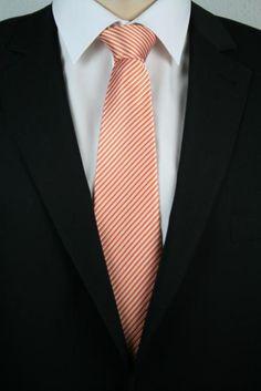 Kent+Shark Ministreifen Seidenkrawatte 170cm Orange
