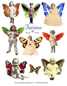 Download Digital Collage Sheet Vintage Children Fairies Altered Art Fairy No. 218