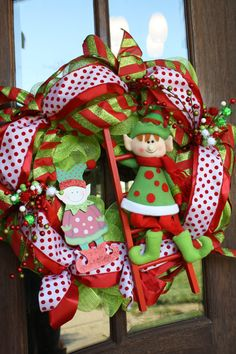 Mesh Christmas Elves Wreath 24 by CellaJaneCreations on Etsy, $110.00
