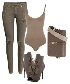 """Untitled #80"" by laurenmq ❤ liked on Polyvore featuring H&M, WearAll, Giuseppe Zanotti, Yves Saint Laurent, Heels, YSL, pants and bodysuit"