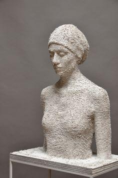From Accesso Galleria, Bruno Walpoth, Giuana Cardboard, 71 × 52 × 34 cm Sculpture Head, Cardboard Sculpture, Wood Sculpture, Wow Art, Italian Artist, Land Art, Medium Art, Paper Art, Sculpting