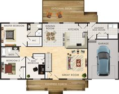 Kimberly II Floor Plan. No basement. I love this for a slightly bigger plan than I need