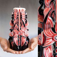 Big Gothic Black & Red Handmade (Hand Carved) Sculptured Candle (Prima Candles) #PrimaCandles