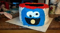 Front side of Elmo / Cookie monster cake