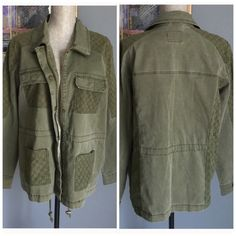 ✨LAST ONE✨ Jessica Simpson Jacket Contemporary burnt olive jacket from Jessica Simpson .  Button and/or zipper front closure .  Drawstring to adjust waist if desired .  Pretty design on arms , all four front pockets , across shoulders and down sides .  Breast pockets have snap closures , bottom ones are slip pockets .  Made of 98% cotton/2% elastane .  Machine wash/dry . Jessica Simpson Jackets & Coats