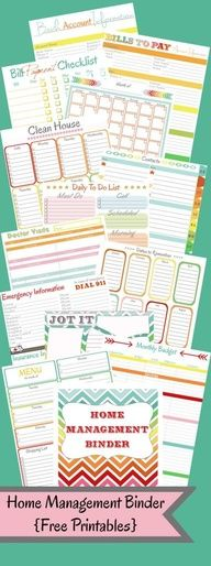 Sep 2015 - Create your perfect home management binder with these free planner printables. Organize your entire home, life, and family with a diy home management or family binder.