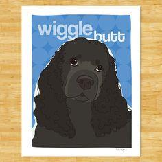 Black Cocker Spaniel Dog Art Print  Wiggle Butt by PopDoggie, $18.00