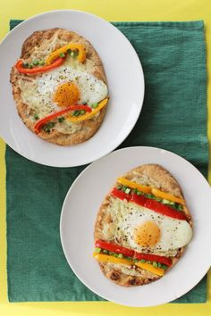 Easter Egg Shaped Breakfast Naan Pizzas