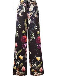 pantalon ample évasé à fleurs