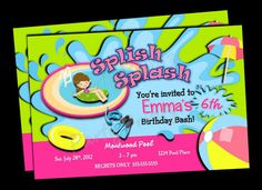 Swimming Party Invitations printable | Printable Swimming - Pool Party Invitations - Personalized - Custom ...