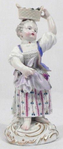 Antique Meissen Porcelain Figurine Girl with A Basket