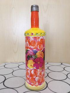 Flower vase, vase for flowers, decoration bottle, decoupage bottle  #decoupage #homedecor #flowervases #vaseforflowers #decoupageart