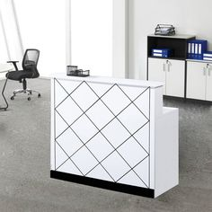 Modern white custom design cheap office furniture wooden reception counter table