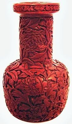 A Chinese carved lacquer vase from the Yongle period of the Ming Dynasty, 15th century