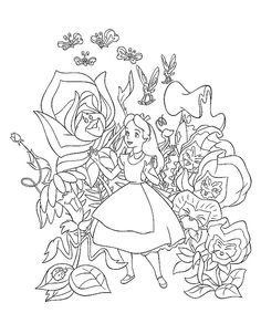 coloring page Alice in Wonderland - This site has a bunch of free coloring pages, puzzles, games, etc