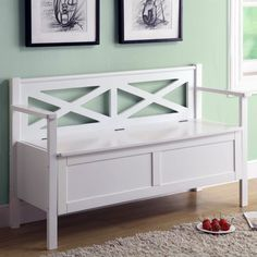 Monarch X-Back Wood Storage Bench - White