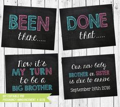 Congrats on your exciting news! Ready to share it with family and friends but want to involve the older siblings? This pregnancy announcement is a great choice! Let your little ones shine and announce that their new sibling is on the way with these adorable chalkboard printable