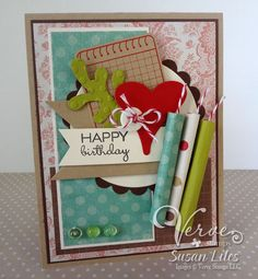 Birthday card by Susan Liles using Verve Stamps.