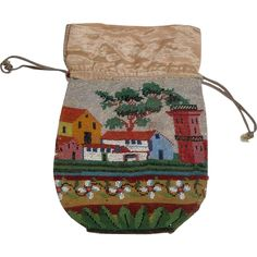 Victorian Beaded Drawstring Reticule Purse with Rural Landscape