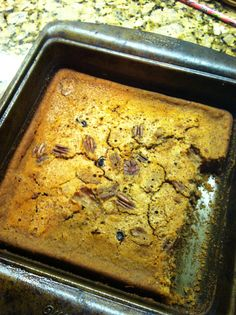 Maple Pecan Breakfast Bars from the  Change Your Brain, Change Your Body Cookbook!  I eat this every single day, heated up for 15 seconds in the microwave and drizzled with agave nectar!  It's my favorite part of the day.  I usually eat a little after I cook it (hence the gap in the photo).