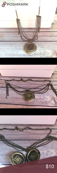 """Coldwater Creek Antiqued gold Locket Necklace Excellent used condition. Antiqued gold or brass finish. Locket necklace.  Total length 23"""", adjusts to 21"""" Coldwater Creek Jewelry Necklaces"""