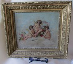 SOLD....Antique Victorian Oil Painting of Cherub Angels, Gilded Picture Frame