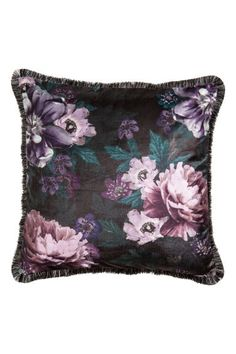 Velvet cushion cover - Black/Floral - Home All | H&M GB