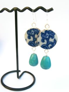 Blue & Aqua Earrings, Turquoise Jewelry, Blue and White Pottery Shard Dangle Earrings by polishedtwo on Etsy