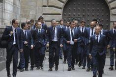 Los jugadores del Barça a su llegada a la Catedral