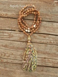 Get Knotty! with Perfectly Twisted Jewelry  108 Bead Mala Necklace Peach Agate Druzy Fossil Jasper Yoga