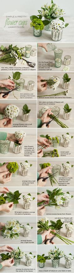 Flower Gardening Design Add a Little Bit of Spring to your Office Desk - Spruce up your drab work space with simple mini flower arrangements and other office decorating ideas by handcrafted lifestyle expert Lia Griffith Deco Floral, Arte Floral, Floral Design, Ikebana, Small Flowers, Beautiful Flowers, Floral Arrangements, Inexpensive Flower Arrangements, Spring Flower Arrangements