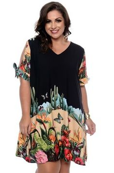 Vestido Plus Size Hallie Vestidos Plus Size, India Beauty, Fashion Outfits, Womens Fashion, Floral Tops, Tunic Tops, Summer Dresses, Celebrities, How To Wear