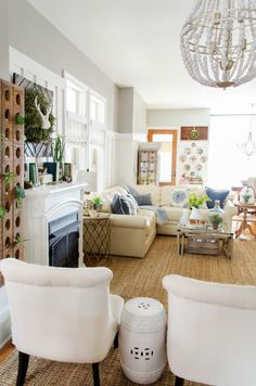 Home furnishings ideas living room rustic coffee table white furniture plant