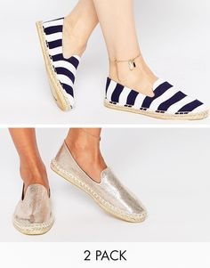 Buy ASOS JEANIE Two Pack Espadrilles at ASOS. With free delivery and return options (Ts&Cs apply), online shopping has never been so easy. Get the latest trends with ASOS now. Ella Shoes, Women's Espadrilles, Espadrille Shoes, Closed Toe Summer Shoes, Cute Shoes, Me Too Shoes, Asos Shoes, Dream Shoes, Comfortable Shoes