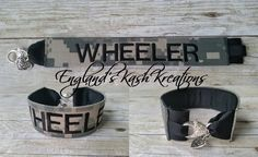 Military Name tape bracelet. See this and many other samples in our Etsy shop.**Items ship within 2 business days of ordering.** Enter coupon code: PIN10 at checkout to receive 10% of your entire purchase. Follow us on Twitter at: twitter.com @englandskk