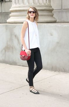 burgundy bag with black and white outfit