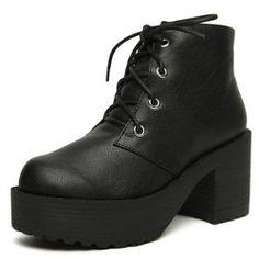 Fashion New Chunky Block Heels Platform Punk Lace Up Womens Ankle Combat Boots   eBay