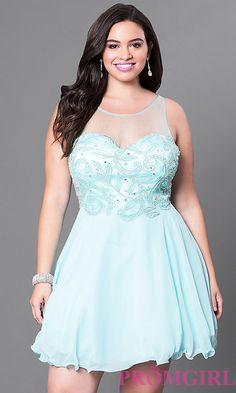 Aqua Blue Short Illusion Sweetheart Plus Homecoming Dress