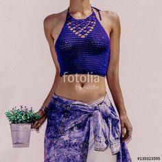 Sensual tanned model. Stylish Boho outfit Knitted top and denim. My Havana