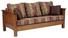 Amish Mount Hope Mission Sofa A nice, neat spot to sink into. The Mount Hope is custom wood furniture handcrafted in Amish country. What wood type would you like? Fabric or leather? Create your custom sofa today. #sofa #livingroom