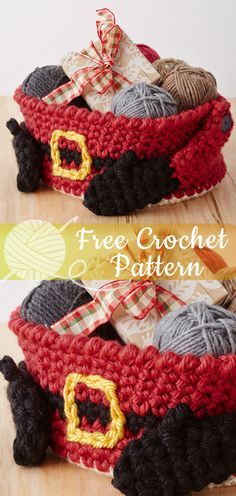 Santa's Gift Basket – Pattern Crochet – Cute Crochet – The Best Ideas Crochet Christmas Decorations, Crochet Christmas Ornaments, Christmas Crochet Patterns, Holiday Crochet, Afghan Crochet Patterns, Santa Christmas, Christmas Presents, Crochet Afghans, Homemade Christmas