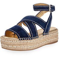 Prada Crisscross Suede Espadrille Sandal (1 106 560 LBP) ❤ liked on Polyvore featuring shoes, sandals, oltremare, suede platform sandals, platform sandals, open toe sandals, ankle strap platform sandals and criss cross strap sandals