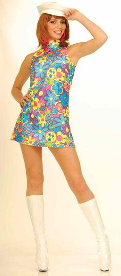 Go Go Costumes. Dazzle in this Womens Retro Go Go Dancer Adult Costume designed to make you look hot! Mod Fashion, 1960s Fashion, Vintage Fashion, Hippie Fashion, Vintage Outfits, Vintage Dresses, Go Go Dancer Costume, Go Go Girl Costume, 60s Costume