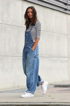 Denim Overall + Stripes Tee + Sneakers