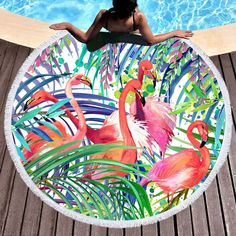 Unique Round Beach Towels and Beach Blankets Flamingo Beach Towel, Flamingo Gifts, Beach Blanket, Picnic Blanket, Outdoor Blanket, Hot Beach, Beach Mat, Coastal Colors, Beach Wedding Favors