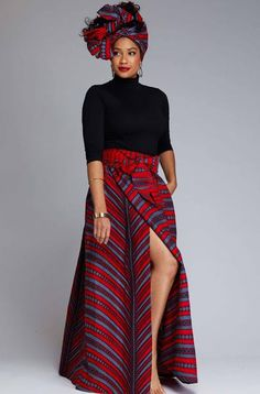 African Print Maxi Skirt with Sash (Red/Grey Stripes)- Clearance Cyrah African Print Maxi Skirt with Sash Red Grey Stripes – D'IYANU African Print Skirt, African Print Dresses, African Prints, African Fashion Skirts, African Print Fashion, Skirt Fashion, African Attire, African Wear, African Outfits
