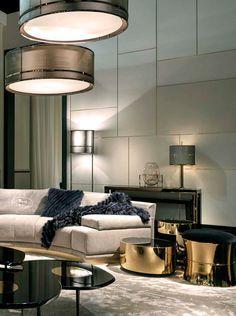 Cosy home with Fendi Casa Artù sofa and gold Constellation coffee tables #elegance #luxury #living Salone del Mobile Milano 2015