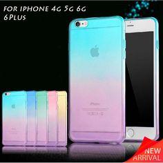 케이스 iphone 7 6 6 초 플러스 4 4 초 se 5 5 초 캔디 색 그라데이션 소프트 tpu 클리어 투명 피부 보호 iphone 6 케이스