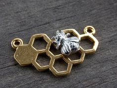 4 Gold Honeycomb Connectors with Silver Bee 25mm by AliCsSupplyShop on Etsy